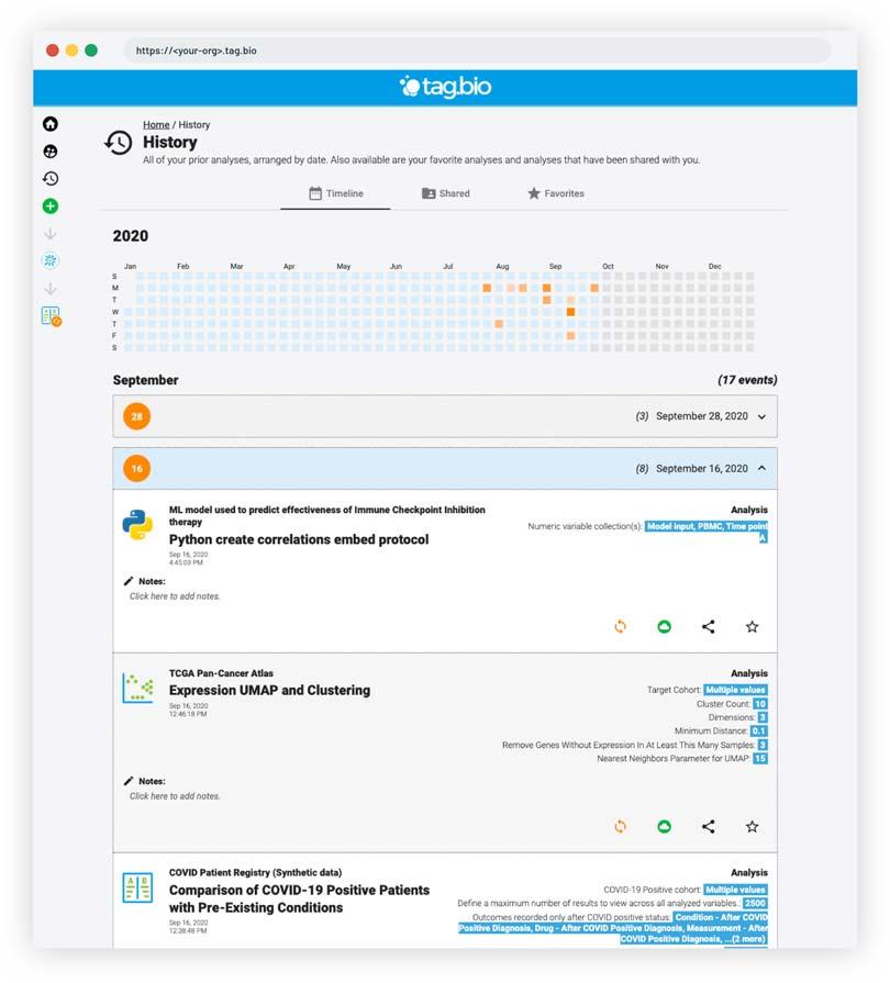 Tag.bio analysis platform - analysis history
